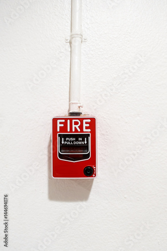 Fire breaker box on wall background., Fire protection system. Poster