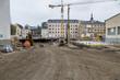 Leinwanddruck Bild - Neubauten in der Stadt