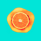 Mix Orange Papaya Love fruit. Fresh tropical ideas. Minimal Creative art