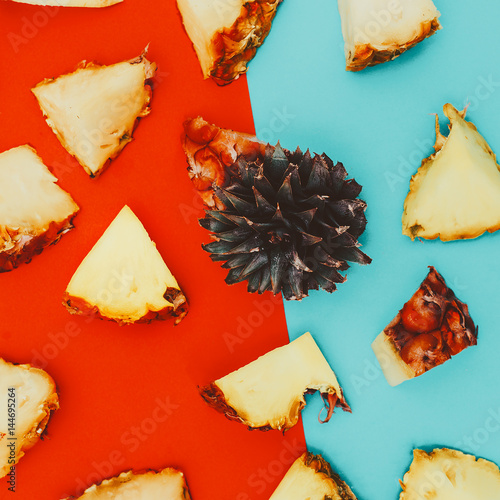 Pineapple background. Pieces and love. Minimal creative art.