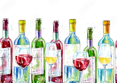 Seamless border of a wine and glass. Painting of a alcohol drink .Watercolor hand drawn illustration.White background.