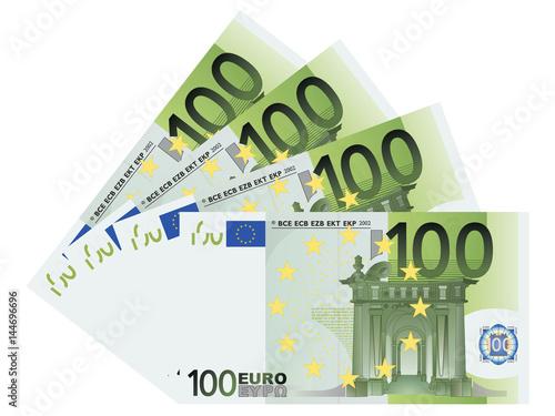 100 Euro bills vector
