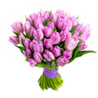 bunch Pink tulips isolated on white, Top view