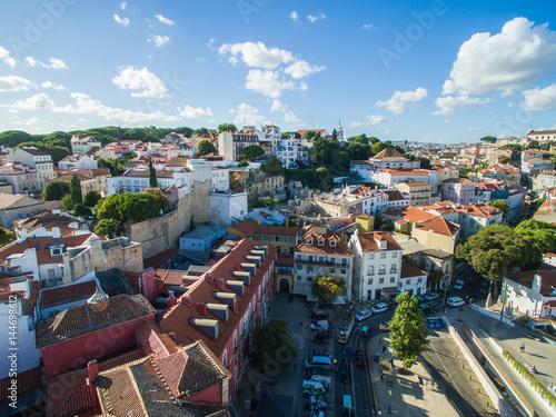 Foto op Aluminium Oude gebouw Aerial View old town of Lisbon city