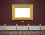 classic museum gallery interior with golden frame and rope barrier - 144699424