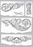 Set of vintage decorative design elements on scraps of paper - 144702203