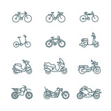 Motorbike, motorcycle, scooter, bike, bicycle thin line vector icons