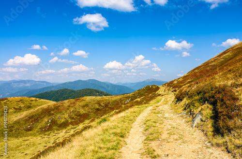 path through a meadows of mountain ridge