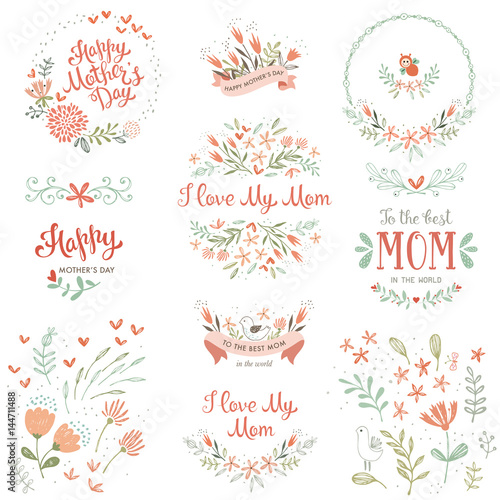 Mother's Day set with typographic design elements. Hand drawn flowers, plants, branches, wreaths and frames, floral bouquets and compositions, decorative birds and banners. Vector illustration. - 144711488