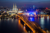 Image of Cologne with Cologne Cathedral during twilight blue hour in Germany. - 144719299
