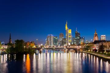 City of Frankfurt am Main skyline at night, Frankfurt, Germany.