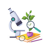 Botany Kit With Microscope And Plant In Pot, Set Of School And Education Related Objects In Colorful Cartoon Style - 144726490