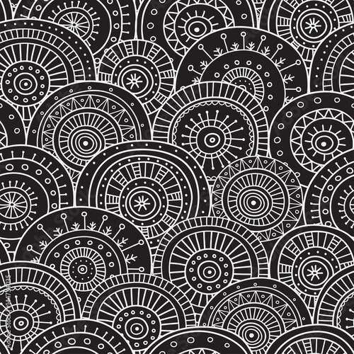 Fototapeta seamless pattern with ethnic tribal boho trendy circle ornaments