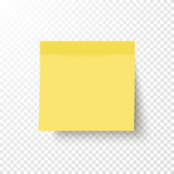 Yellow sticky note isolated on transparent background. Note post memo, label. Realistic template, mockup with shadow for your projects. Vector stock illustration.  - 144744801