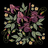 Beautiful spring purple irises against black background, embroidery template. Embroidery irises - 144747491