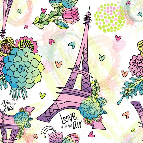 Fototapeta Abstract seamless pattern with Eiffel tower, succulent, leaves and brush strokes. Love is in the air phrase.