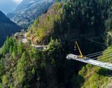 Valgerola - Valtellina (IT) - Vista aerea panoramica del ponte strallato in costruzione - 2017