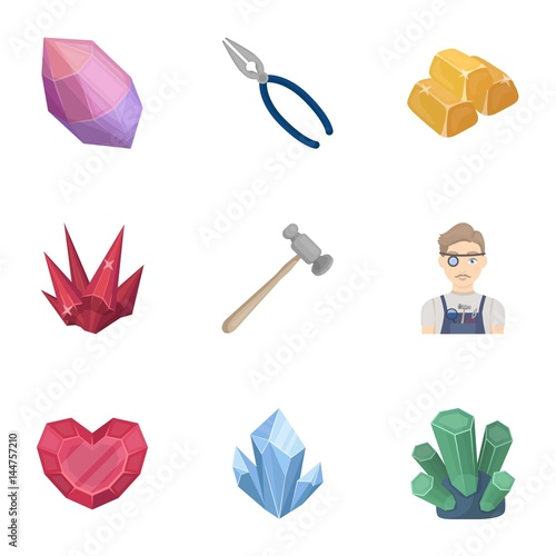 A set of jewelry, crystals, minerals and expensive metals. The jeweler inspects the ornaments.Precious minerals amd jeweler icon in set collection on cartoon style vector symbol stock illustration.