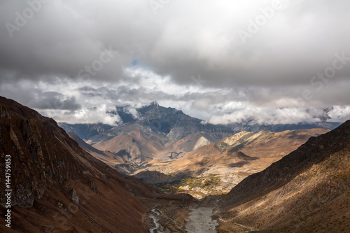 View to Lower Mustang area on Annapurna circuit trek in Nepal Poster