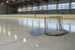 hockey goal on ice, rear view