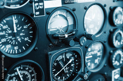 Fototapeta Cockpit helicopter - Instruments panel. Interior of helicopter control dashboard, Heli on the ground.