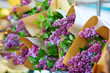 Bunches of fresh lilac on flower market