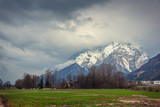 The Alps in stormy clouds