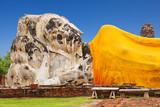 Giant lying Buddha at Wat Lokayasutharam in Ayutthaya Historical Park, Phra Nakhon Si, Ayutthaya, Thailand