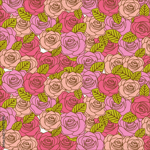 colorful realistic pattern with roses and leaves vector illustration - 144785448