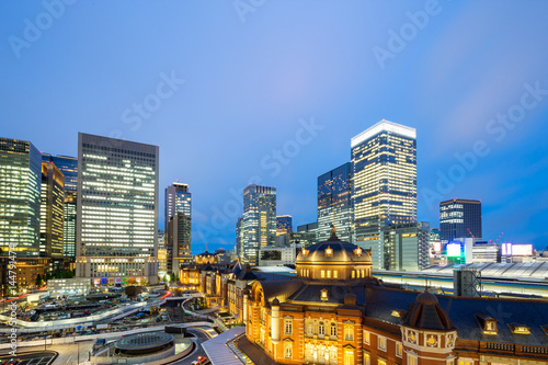 modern buildings in midtown of tokyo at twilight