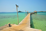 Beach on Tropical Islands with Wooden Piers