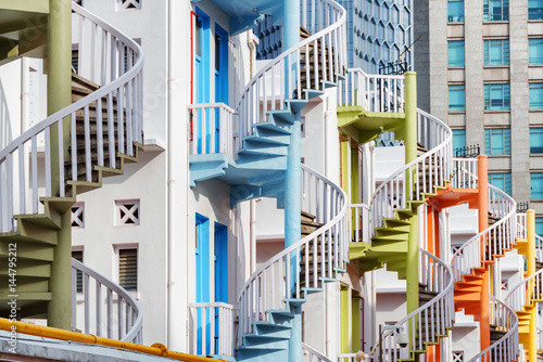 Amazing colorful exterior spiral staircases in Singapore