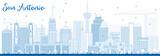 Fototapety Outline San Antonio Skyline with Blue Buildings.