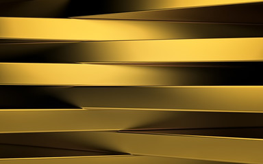 Abstract gold panels with copyspace for text. 3D render