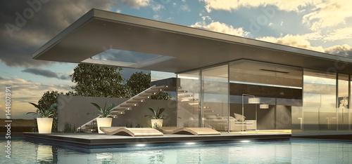 Moderne Villa mit Pool © apfelweile