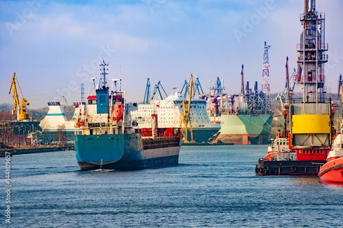 A cargo ship entering port of Gdansk, Poland.