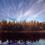 Fall forest landscape river amazing autumn background