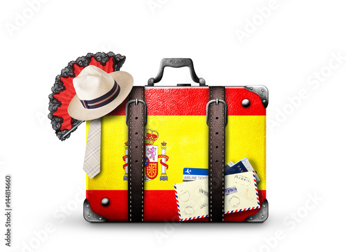 Spain, vintage suitcase with Spanish flag