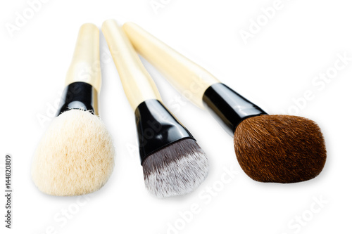 Poster Cosmetics, beauty, make-up brushes set in row, shallow depth