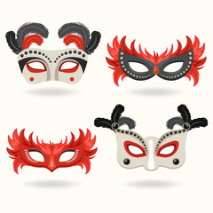 Set of Carnival Mask with Feathers : Vector Illustration