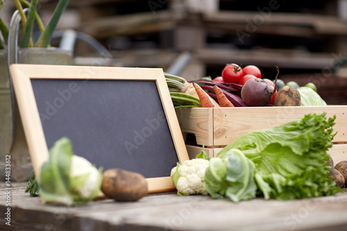 close up of vegetables with chalkboard on farm