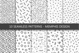 Fototapety Collection of swatches memphis patterns - seamless. Fashion 80-90s.