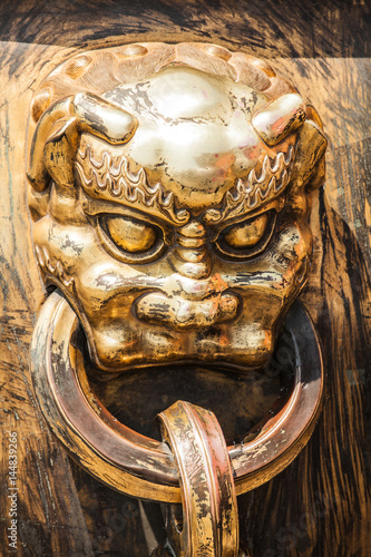 Head of dragon handle in ancient chinese palace Poster
