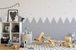 mock up wall in child room interior. Interior scandinavian style. 3d rendering, 3d illustration - 144844466