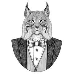 Wild cat Lynx Bobcat Trot Hipster animal Hand drawn illustration for tattoo, emblem, badge, logo, patch, t-shirt