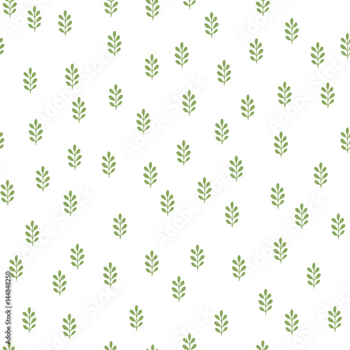 Green herbs seamless pattern. Scandinavian background. Nature style. - 144848250