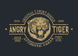 Retro label with angry tiger.