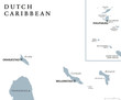 Постер, плакат: Dutch Caribbean political map with Aruba Curacao Bonaire Sint Maarten Saba and Sint Eustatius Former Netherlands Antilles Gray illustration isolated on white background English labeling Vector