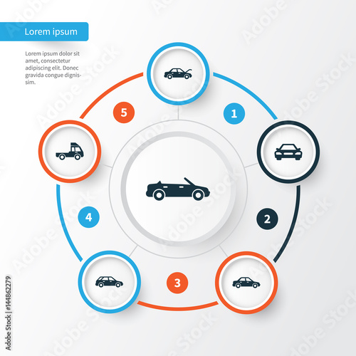 Automobile Icons Set. Collection Of Automobile, Convertible Model, Van And Other Elements. Also Includes Symbols Such As Wagon, Hood, Car.