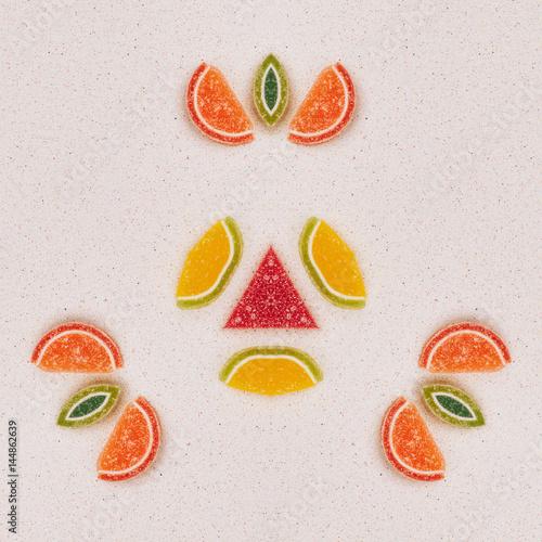 Mandala made from fruit made from marmalade